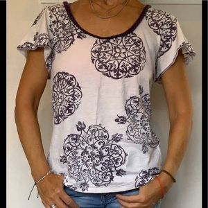 Lucky Brand Scoop Neck Short Sleeve Top Size M